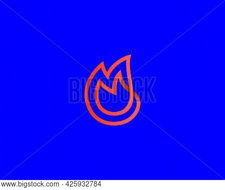 Linear Fire, Flame Loop Vector Icon Logo Design Template. Minimalistic Bonfire, Burn, Energy Vector
