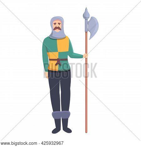 Castle Warrior Icon Cartoon Vector. Medieval Knight. Royal Palace