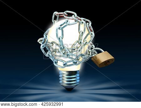 Glowing Lightbulb With Chain And Padlock. Idea Is Locked And Restrained Conceptual Theme.