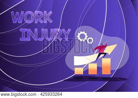 Conceptual Caption Work Injury. Word For Accident In Job Danger Unsecure Conditions Hurt Trauma Colo
