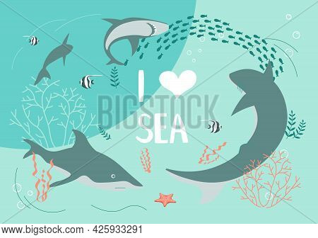 Underwater Scene With A Flock Of Sharks On Aquamarine Background