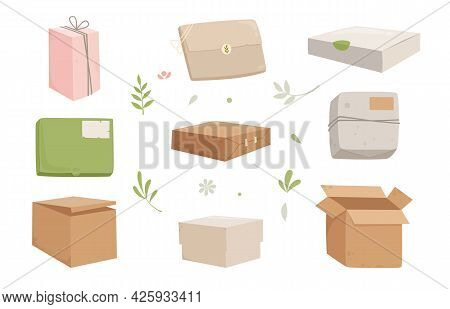 Box Cardboard Icons Set Cartoon Vector. Carton Delivery Package. Empty Paper Box Pack. Cargo Parcel