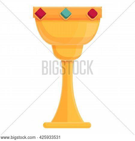 Golden Goblet Icon Cartoon Vector. Gold Cup Trophy. Grail Wine