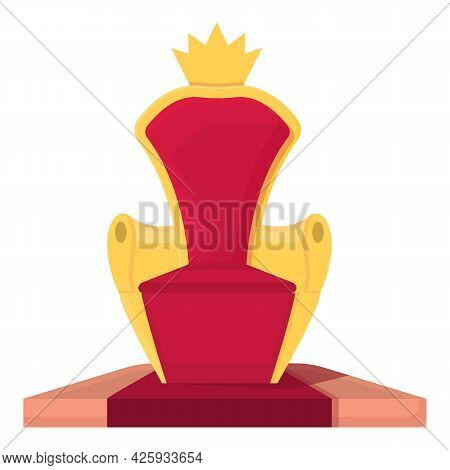 King Throne Icon Cartoon Vector. Royal Crown Chair. Gold Seat