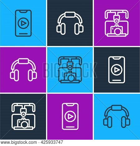 Set Line Online Play Video, Gimbal Stabilizer With Camera And Headphones Icon. Vector
