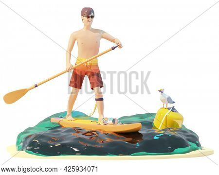 Happy young man is paddling on a SUP board. Standup paddleboarding in tropical blue sea water. SUP board riding. Summer vacations and holidays on sea or ocean beach. 3d illustration