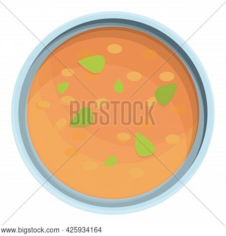 Lentil Soup Food Icon Cartoon Vector. Red Bowl Soup. Vegetable Lentil Food