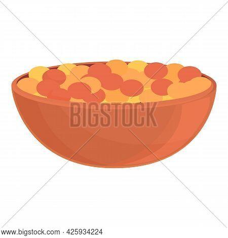 Full Lentil Bowl Icon Cartoon Vector. Vegetable Pile Bean. Brown Seed Stem