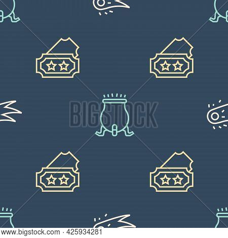 Set Line Fireball, Ticket And Witch Cauldron On Seamless Pattern. Vector