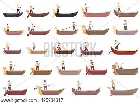 Gondolier Icons Set Cartoon Vector. Venice Bridge Gondola. Canal Man Boat