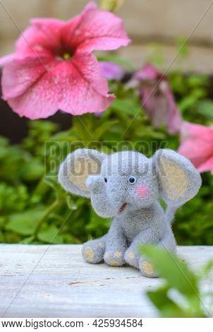 Cute Funny Little Toy Handmade Woolen Elephant, Felting From Wool