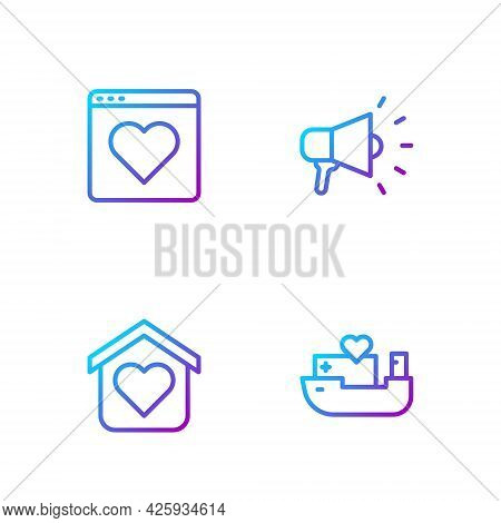 Set Line Humanitarian Ship, Shelter For Homeless, Dating App Online And Megaphone. Gradient Color Ic