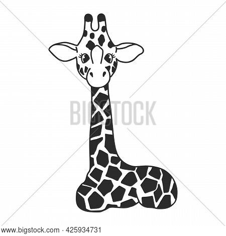 Cute Baby Giraffe Is Lying. Monochrome Illustration. Vector Image The Giraffe On The White Backgroun