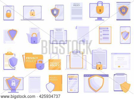 Privacy Policy Icons Set Cartoon Vector. Gdpr Safety. Europe Standard