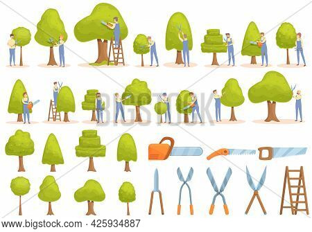 Tree Trimming Icons Set Cartoon Vector. Tree Chainsaw. Tree Trimming Work