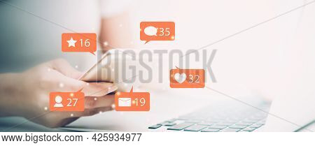 Hands Of Woman Using Smart Mobile Phone Looking Social Media On Internet Online, Icon With Emotion W