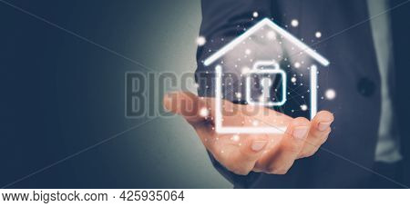 Security System With Home For Protection Family, Secure And Access Digital For Residential, Property