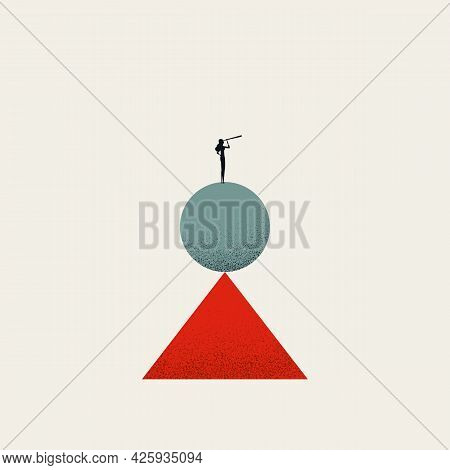 Business Work Life Balance For Woman, Vector Symbol Concept. Symbol Of Career Ambition And Family Li