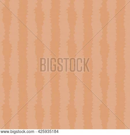 Rough Copper Orange Shibori Lines Hand Drawn Simple Seamless Pattern. Vector Illustration For Backgr