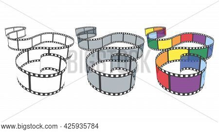 Vector Set Of Blank Cinema Film Strip Frames In Different Colors. Collection Of Multicolor Film Stri