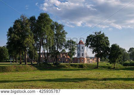 Ruins Of Old Ancient Castle At Summer Landscape, Golshany Village, Grodno Region, Belarus.