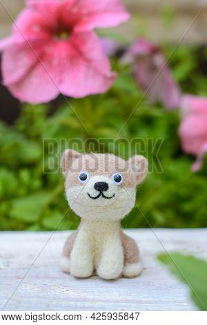 Cute Funny Little Toy Handmade Woolen Dog, Felting From Wool