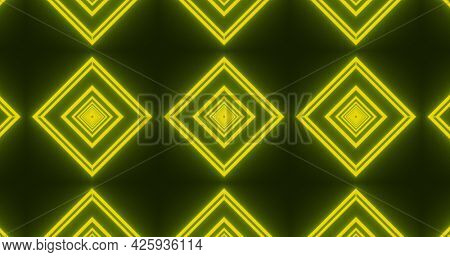 Image of glowing yellow formation of diamond shapes moving on seamless loop. colour and movement concept digitally generated image.