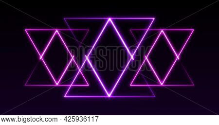 Image of pink to purple formation of triangles glowing on seamless loop. colour and movement concept digitally generated image.