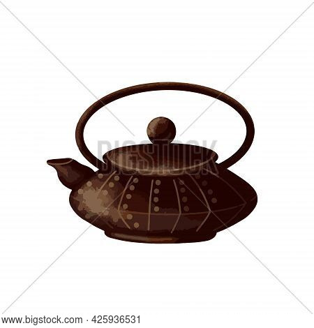 Chinese Teapot On A White Background. Vector Illustration