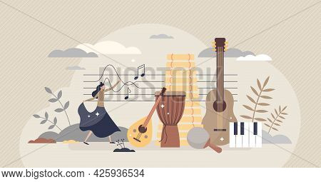 Ethnomusicology Music Study Or Ethnic Folklore Research Tiny Person Concept. Songs And Instruments L