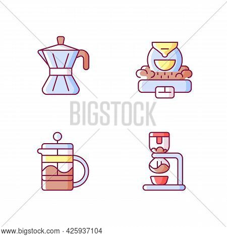 Coffee Making Appliance Rgb Color Icons Set. Moka Pot. Professional Commercial Roaster For Beans. Fr