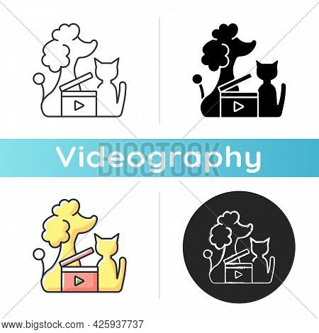 Pet Videos Icon. Online Content With Domestic Animals. Cats And Dogs Vlog. Filmmaking For Wildlife C