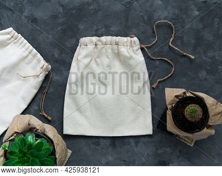 Reusable Cotton Eco Bag Mockup Plastic Free Shopping Canvas Natural Fabric Hand Made Package Templat