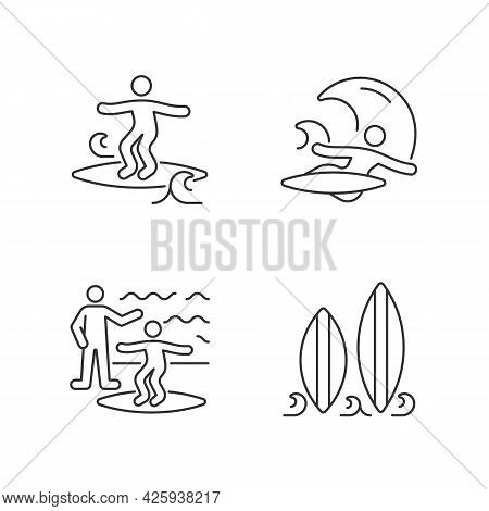 Surfboarding Linear Icons Set. Crumbly Waves Surfing. Flight Maneuver. Taking Surf Classes. Customiz