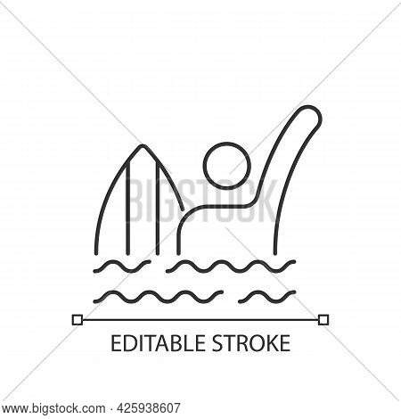 Emergency Signal For Drowning Linear Icon. Waving Arm Above Head. Surfer In Dangerous Situation. Thi
