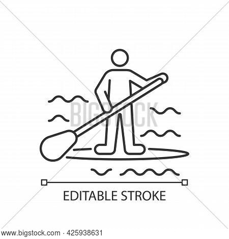Paddle Board Surfing Linear Icon. Sup Surfing. Upper Body Training. Require Balance, Coordination. T