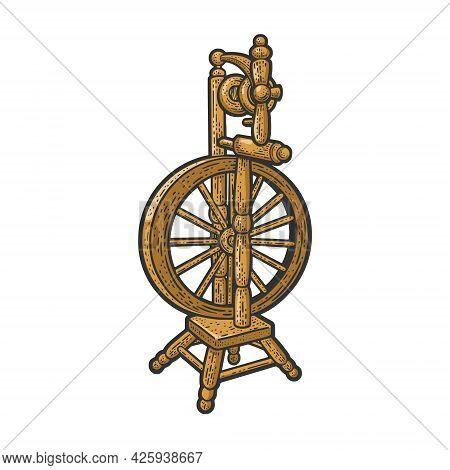 Spinning Wheel Color Line Art Sketch Engraving Vector Illustration. T-shirt Apparel Print Design. Sc