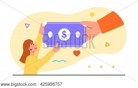 Concept Of Obtaining A Universal Basic Income. The Hand Extends Money To A Happy Woman. Pastel Backg