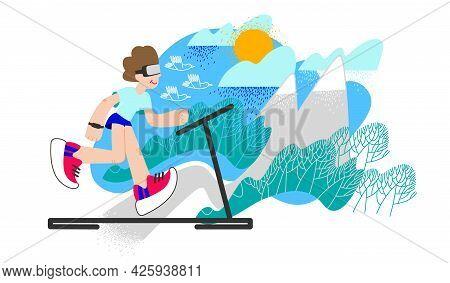 Virtual Reality. Man Running On Treadmill. Vr Athletic Training, Sportsman Entertainment. Real Exper