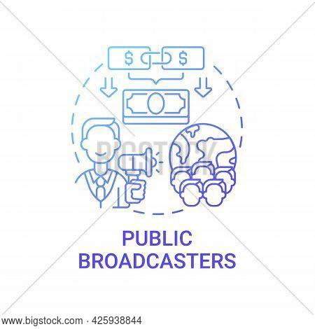 Public Broadcasters Fundraiser Concept Icon. Fundraising Abstract Idea Thin Line Illustration. Invit