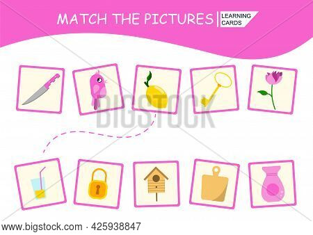 Educational Game For Children. Find A Match And Connect The Pictures With A Line. Lemon And Lemon Ju