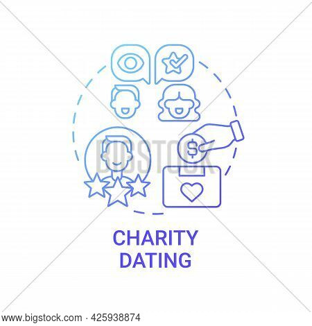Charity Dating Concept Icon. Fundraising Kind Abstract Idea Thin Line Illustration. Introducing Pote