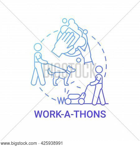 Work-a-thons Fundraiser Concept Icon. Fundraising Appeal Abstract Idea Thin Line Illustration. Raise