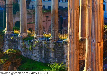 Columns Of Roman Forum In Rome ,lazio, Italy . Ruins Of Ancient Architecture