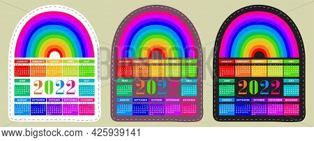 Calendar Sticker 2022 With Rainbow. English Colorful Vector Horizontal Wall Or Pocket Calender Templ