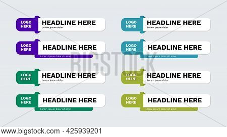 Vector Video Headline Title Or Television News Bar Design Template Isolated On White Background. Gra