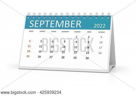 a table calendar for your events 2022 september. 3d illustration