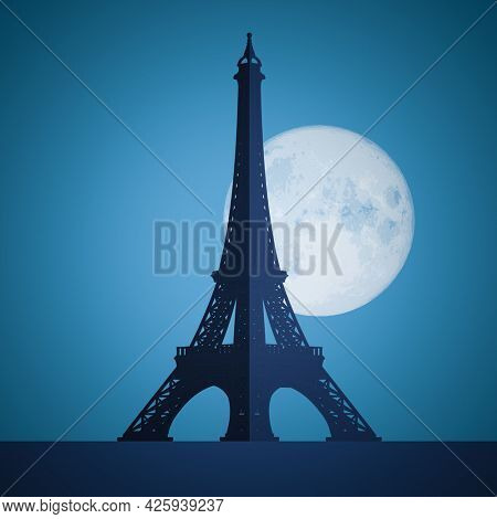 An illustration of the Eiffel Tower Paris by night