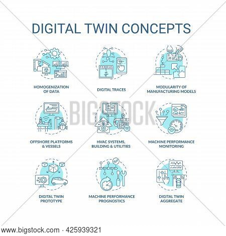 Digital Twin Concept Icons Set. Digital Twin Characteristics. Smart Computers. Automation Equipment