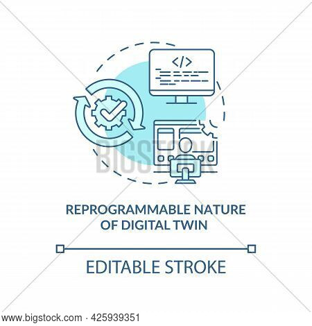 Reprogrammable Nature Of Digital Twin Concept Icon. Digital Twin Characteristics. Smart Computers Ab